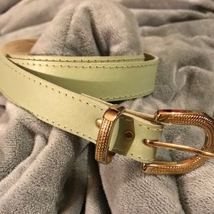 Accessories - Muted mint green belt with gold tone buckle
